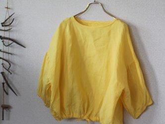 【春NEWカラー入荷】リネン裾ギャザープルオーバー ミモザ リトアニアリネン100%の画像
