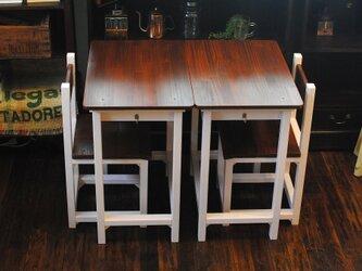 ○優しい桜色・・いちごミルク&チークカラーのレトロな勉強机と椅子○2台セットです!の画像