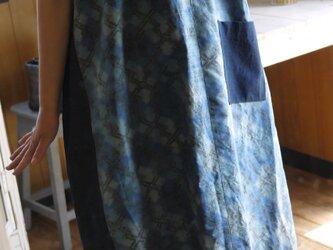 青正絹ギャザーフリル襟ワンピースの画像