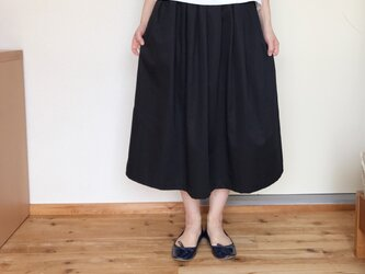 【受注生産】タックフレアースカート  ブラックの画像