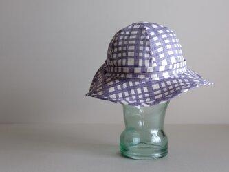リボンと遊ぶ帽子 - リネン アジサイブルー チェック -  <受注制作>の画像