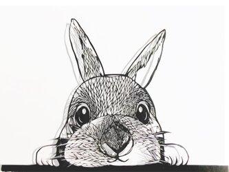 切り絵作品・ウサギの画像