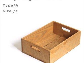 *リサイクルウッドボックスtype/aサイズS 持ち手穴付き 木箱 収納の画像