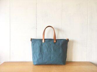 【受注製作】ロウ引き帆布とヌメ革の鞄 ブルーグレーの画像