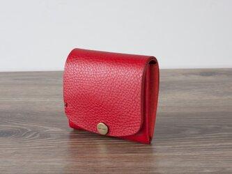イタリア製牛革の二つ折りピッコロ財布 / レッド※受注製作の画像