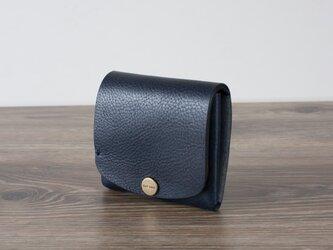 イタリア製牛革の二つ折りピッコロ財布 / ネイビー※受注製作の画像