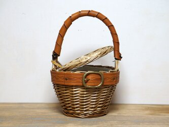 サービス品-柳バスケットカゴBAG・真鍮バックル×ヌメ革の画像