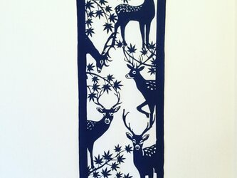 藍型染手拭【鹿】の画像