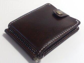 巾85mmフラットになるマネークリップ カード4枚+マルチポケット 札ばさみ MC-10dbn ヌメ革 焦げ茶の画像