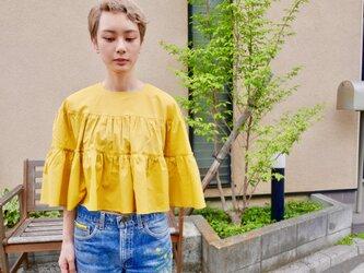 綿ローン ティアードギャザーブラウス  Yellowの画像