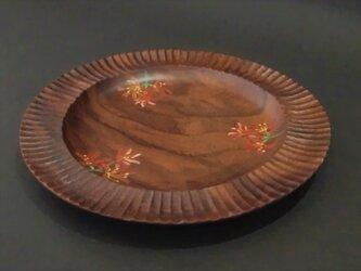 【特別価格】木皿 ウォールナット【キツネノカミソリ】木彫りの画像