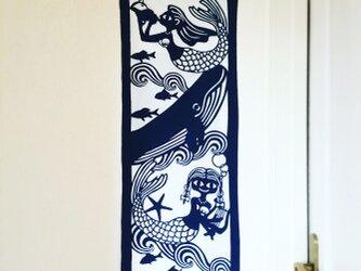 藍型染手拭【人魚】の画像