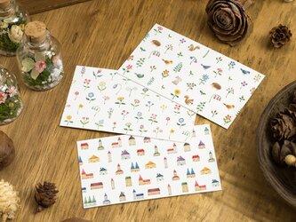 """10枚セット。3つの柄から。メッセージカード """"色とりどりの家と花と動物と"""" MCの画像"""