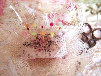 ◆◇ガラス飾りの待ち針10本セット(砂糖飴・金平糖風)◇◆の画像