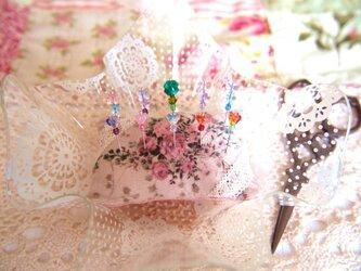 ◆◇ガラス飾りの待ち針10本セット(蝶・クローバー・お花)◇◆の画像