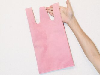 豚革 ピンク コンビニエンスバッグ Sサイズ トートバッグの画像