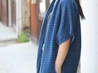 インディゴ・半袖羽織りジャケットの画像
