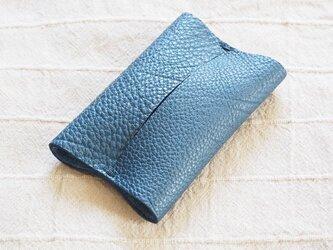本革ポケットティッシュケース レザー 手縫いネイビー【受注製作】の画像