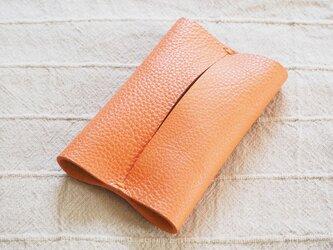 本革ポケットティッシュケース レザー 手縫いオレンジ【受注製作】の画像
