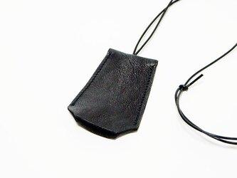 キークロシェット 本革レザーネックレス・キーケース・キーカバー ブラック  【受注生産】の画像