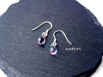 【rosee】glass drop pierce blu/red (2pcs)の画像