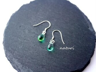 【rosee】glass drop pierce green (2pcs)の画像