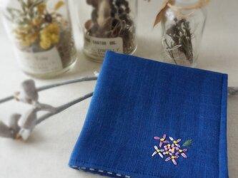 手刺繍入り4重ガーゼハンカチ「紫陽花ピンク」[受注制作]の画像