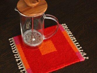 手織り リバーシブルのポットマット(ウール) No.7の画像