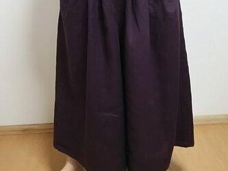 スカートのようなリネンのキュロットパンツ☆グレープの画像