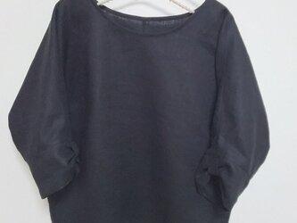 リネン7分袖リボンブラウス ブラックの画像