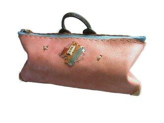 ポーチ(財布、ペン入れ、化粧ポーチ) 手染め ピンクの画像