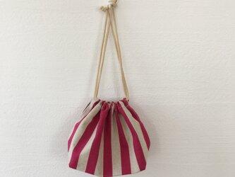 ストライプお弁当袋(ピンク)の画像