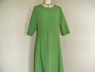 まめ様ご予約品「緑のパネルラインリネンフレアワンピース」の画像
