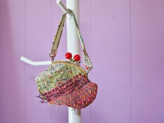 手織り がまぐちミニバッグの画像