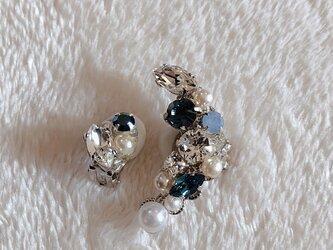 海色ビジューのイヤーカフ&イヤリング(シルバー)の画像