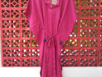 Pink リネン・カフタンワンピース(紐&タッセル)の画像