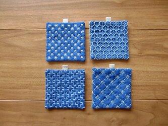 〔受注制作〕刺し子のminiコースター(青)の画像