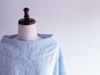 【受注製作】国産リネン100%ブルーボーダー ボトルネックサックワンピースの画像