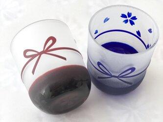 sakura&ribbonまゆ玉ガラスのおちょこの画像