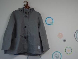 大人のフードジャケット リネン グレーの画像