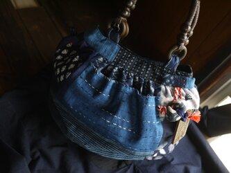 古布、久留米絣、サルボボブローチ付きバックの画像