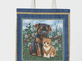 トートバッグ レッスンバッグ 可愛いワンコにゃんこ 犬と猫の画像