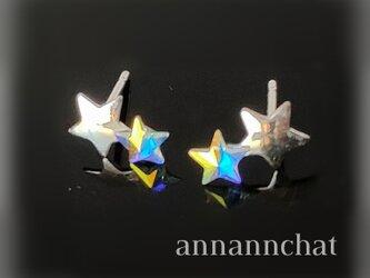 【シルバー925 星に願う あなたと私 小さい ピアス】スペイン製 スターリングシルバー スワロフスキー オパールの画像