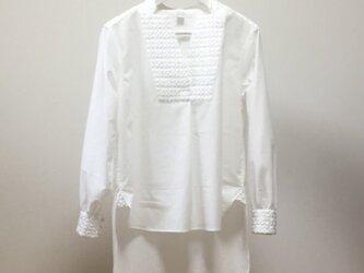 コットンリネン別布使いフロントショートシャツ(ホワイト)の画像
