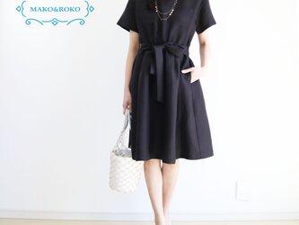 新作♪【ブラック】リネン100%ウエストゴム入りシャツ風ワンピース♥の画像