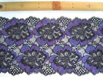 ポリエステル系ストレッチレース3枚黒紫3の画像