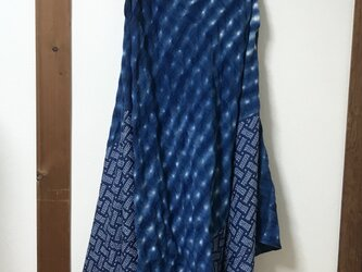 藍染 ×正絹 バイヤスワンピースの画像
