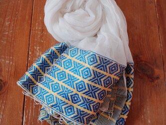 エチオピアの手織りコットンスカーフ/ナタラ blueの画像