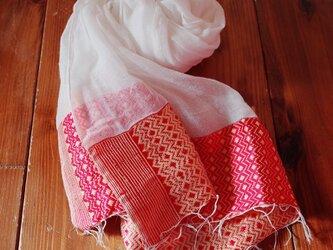 エチオピアの手織りコットンスカーフ/ナタラ redの画像
