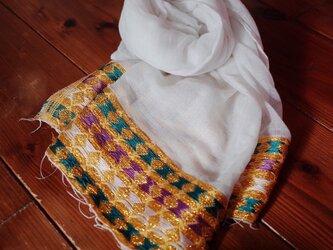 エチオピアの手織りコットンスカーフ/ナタラ yellowの画像